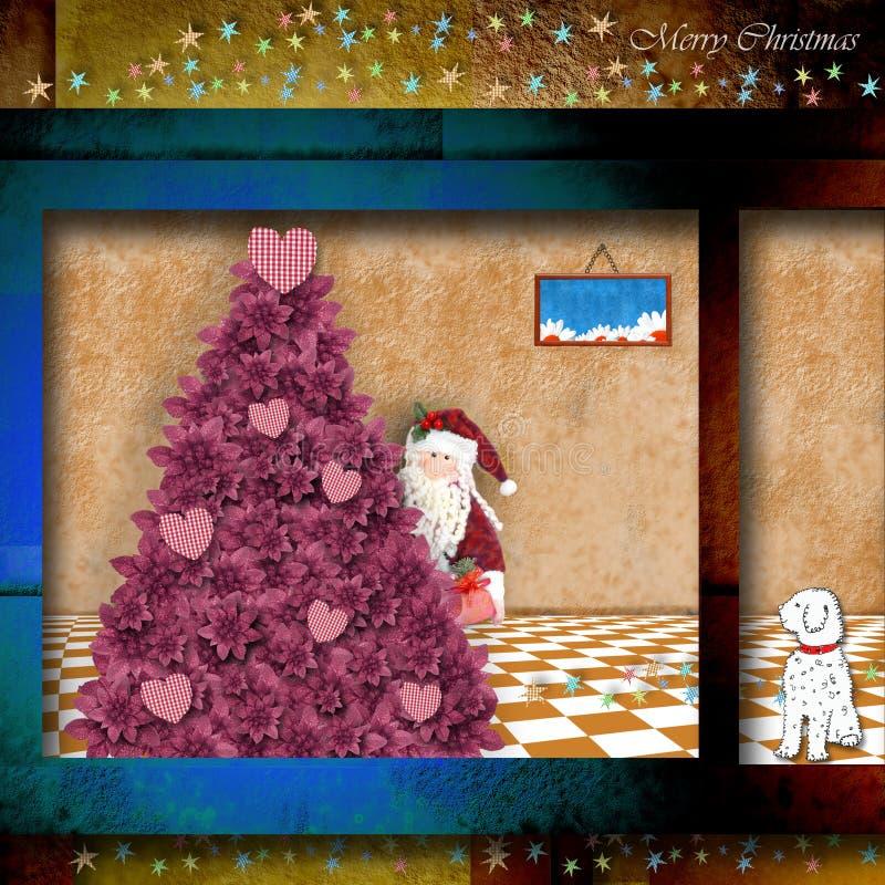 Cartão de Natal engraçado de Santa Claus que sae de presentes imagem de stock