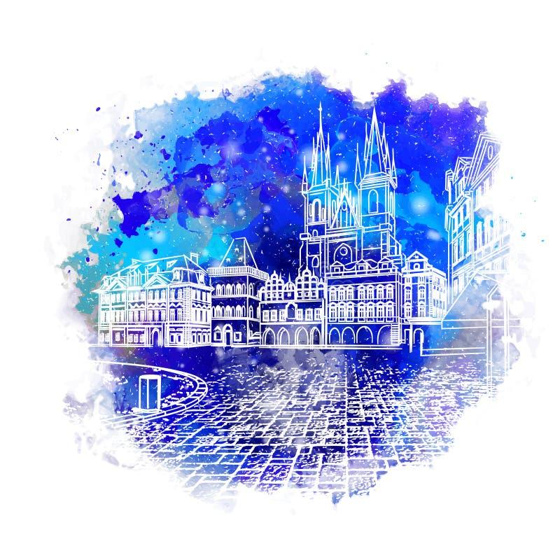 Cartão de Natal Esboço do vintage da paisagem urbana A cidade velha de Praga Ilustração do vetor ilustração do vetor