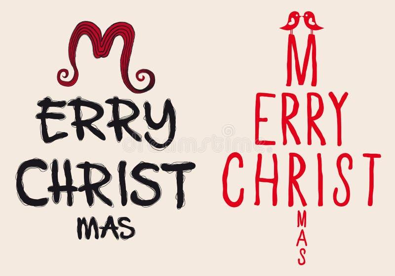 Cartão de Natal escrito mão, vetor ilustração stock