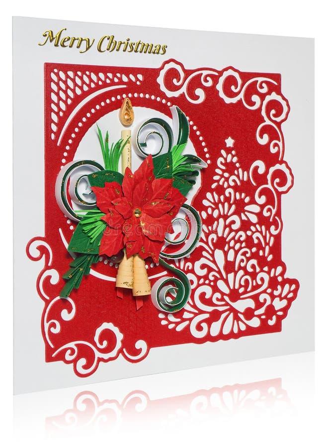 Cartão de Natal feito a mão com cumprimentos e poins do Feliz Natal foto de stock