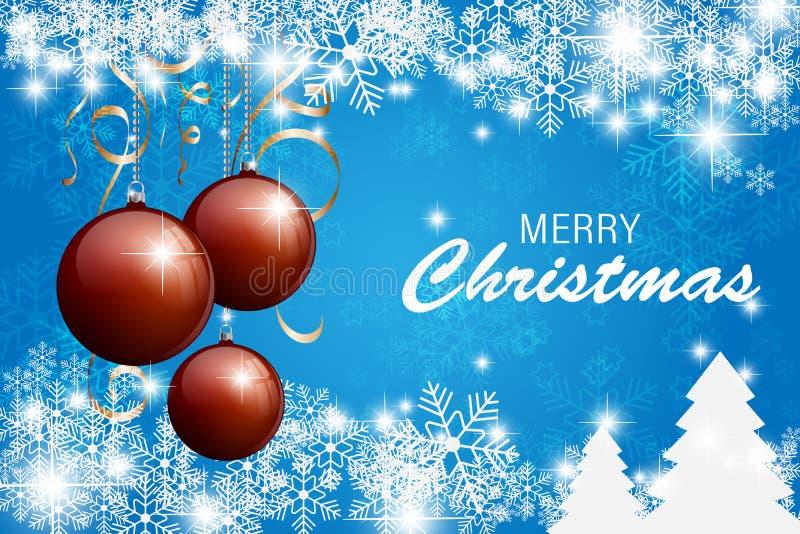 Cartão de Natal feliz com fundo azul do floco de neve Graphhics do vetor ilustração do vetor