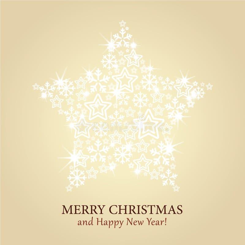 Cartão de Natal - fundo do ouro com estrela efervescente ilustração royalty free