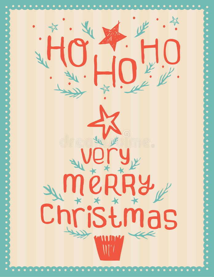 Cartão de Natal Hand-drawn do vintage fotos de stock