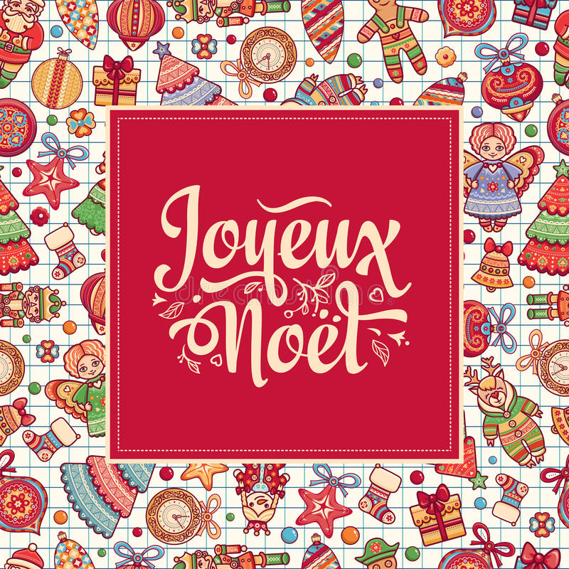 Cartão de Natal Joyeux Noel Cumprimentos ilustração stock