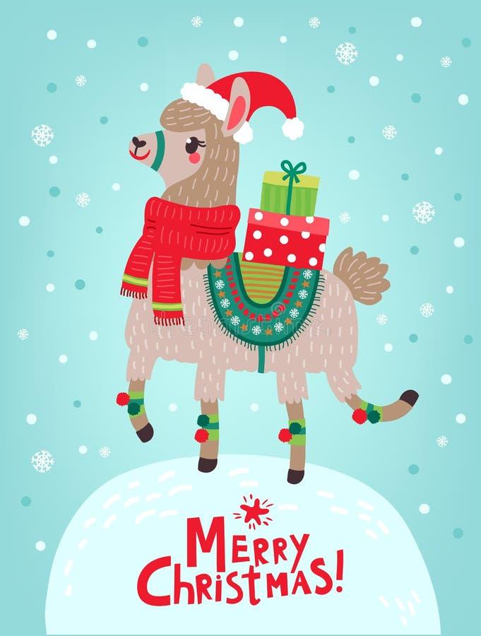 Cartão de Natal lama Fundo do ano novo ilustração do vetor