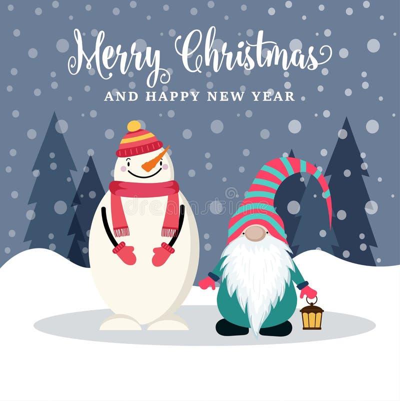 Cartão de Natal liso bonito do projeto com boneco de neve e gnomo ilustração stock