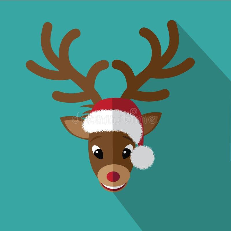 Cartão de Natal liso do ícone da rena ilustração stock