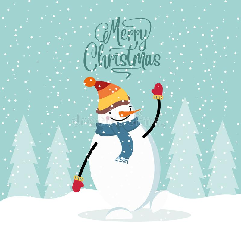 Cartão de Natal liso do projeto com boneco de neve feliz ilustração stock