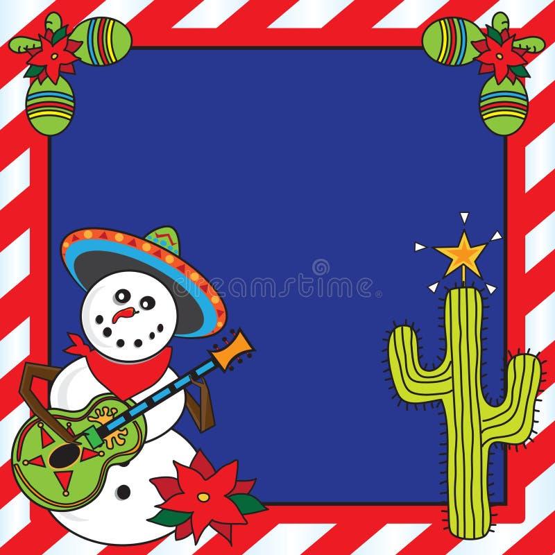 Cartão de Natal mexicano do boneco de neve ilustração do vetor