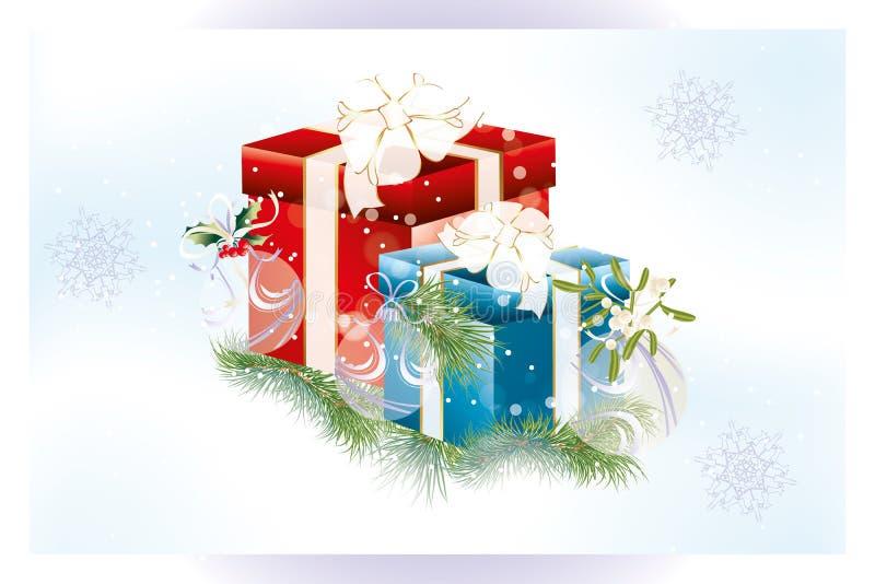 Cartão de Natal neutro com presentes e decoração ilustração royalty free