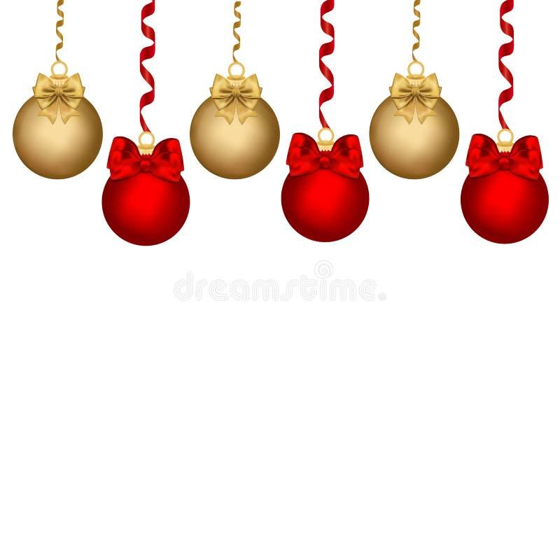 Cartão de Natal, ouro do Natal do projeto e bolas vermelhas em um fundo branco Fitas, curvas ilustração stock