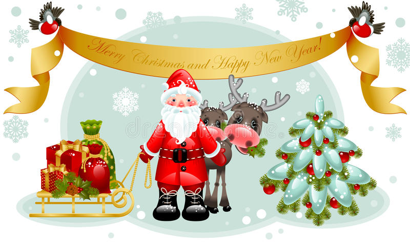 Cartão de Natal. Papai Noel com presentes e árvore. ilustração royalty free