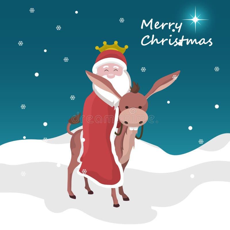 Cartão de Natal de Papai Noel do mágico do rei montado em um asno ilustração royalty free