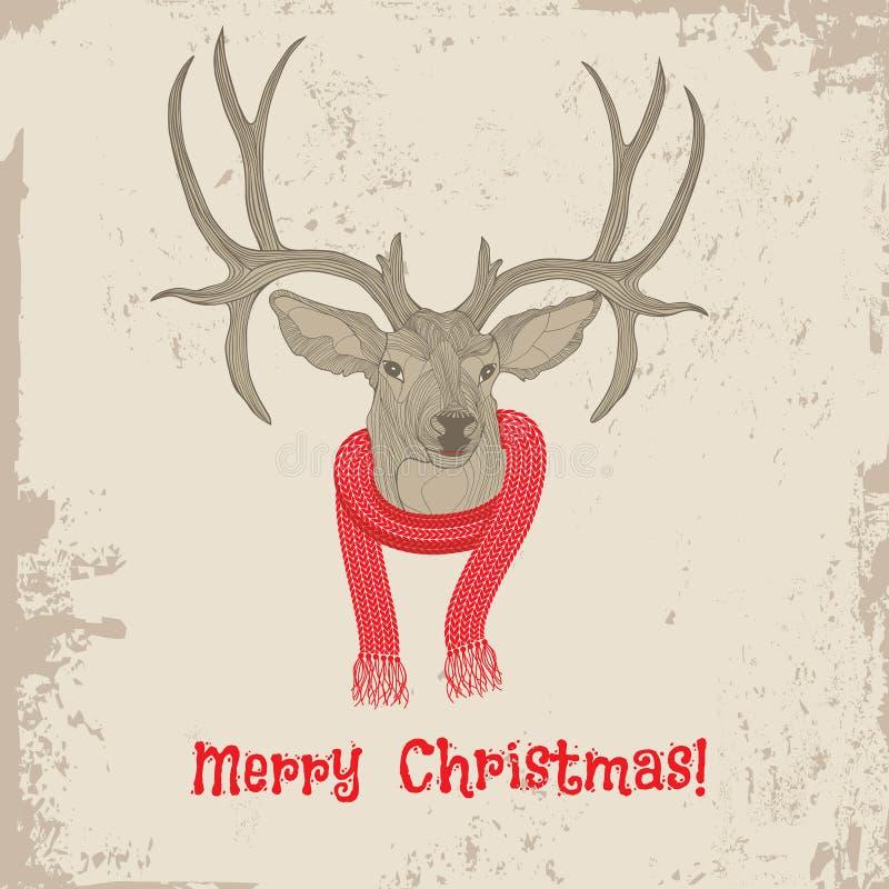 Cartão de Natal principal do vintage dos cervos ilustração royalty free
