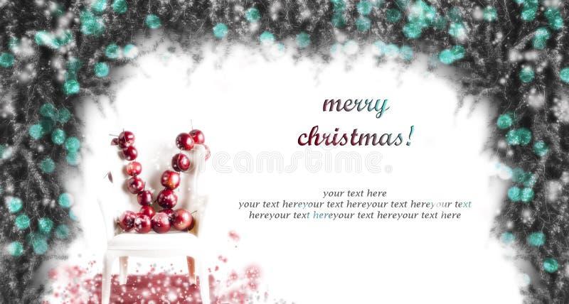 Cartão de Natal quadro turquesa com maçãs ilustração do vetor