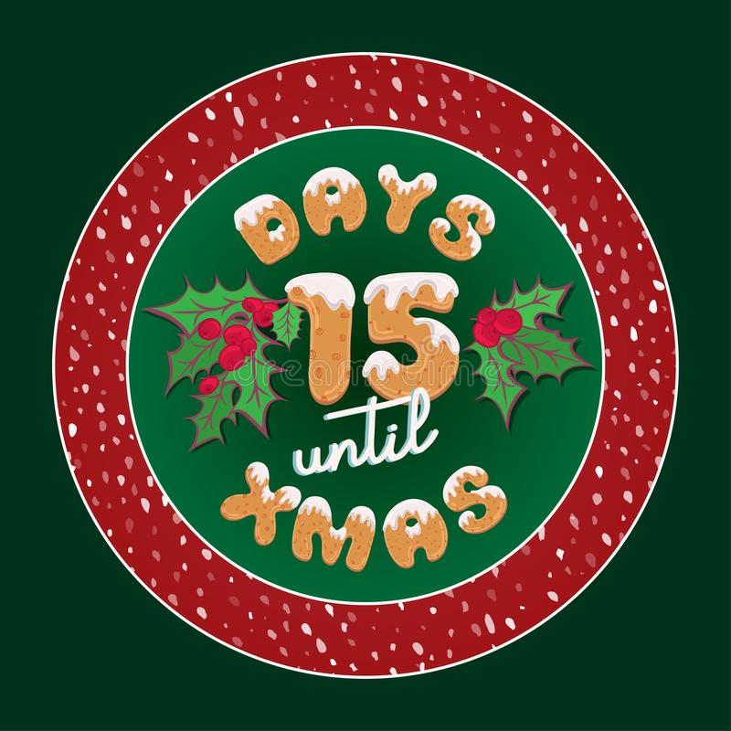 Cartão de Natal retro bonito do feriado Etiqueta do presente do calendário do advento do vintage para o projeto da placa ou do ca ilustração stock