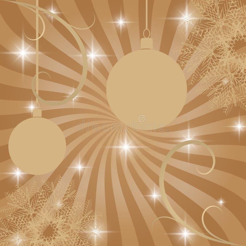 Cartão de Natal retro com decorações e bolas do Natal ilustração royalty free