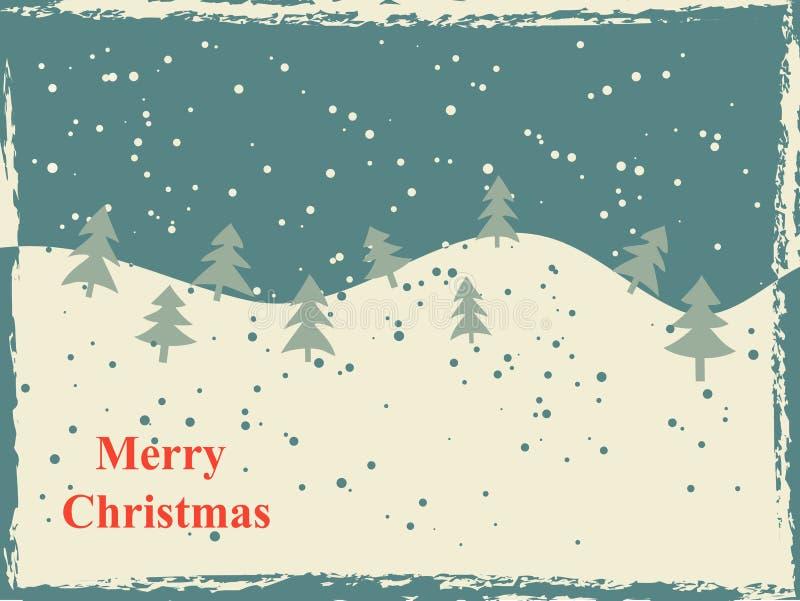 Cartão de Natal retro com montes e árvores da neve ilustração royalty free