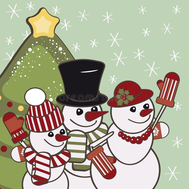 Cartão de Natal retro com uma família dos bonecos de neve. ilustração do vetor
