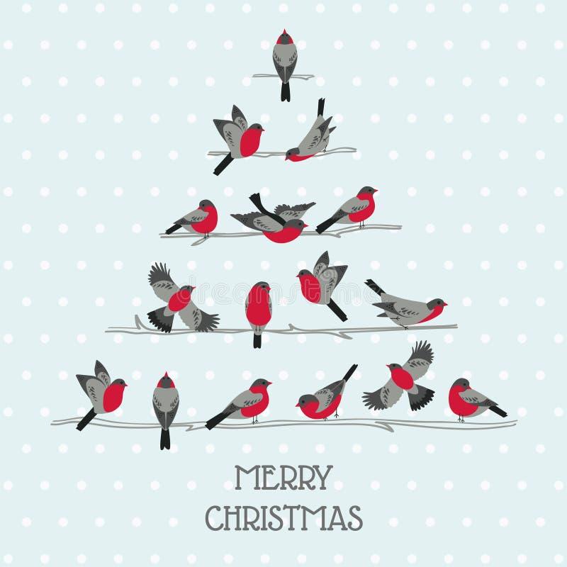 Cartão de Natal retro - pássaros na árvore de Natal ilustração royalty free