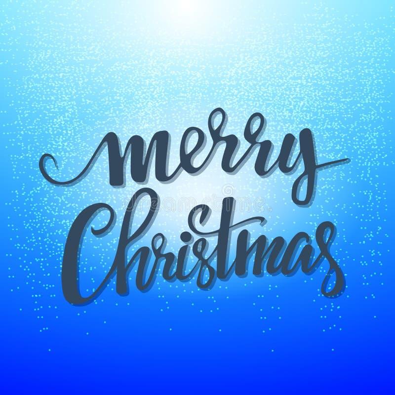 Cartão de Natal Rotulação alegre em um fundo azul Ilustração do vetor ilustração royalty free