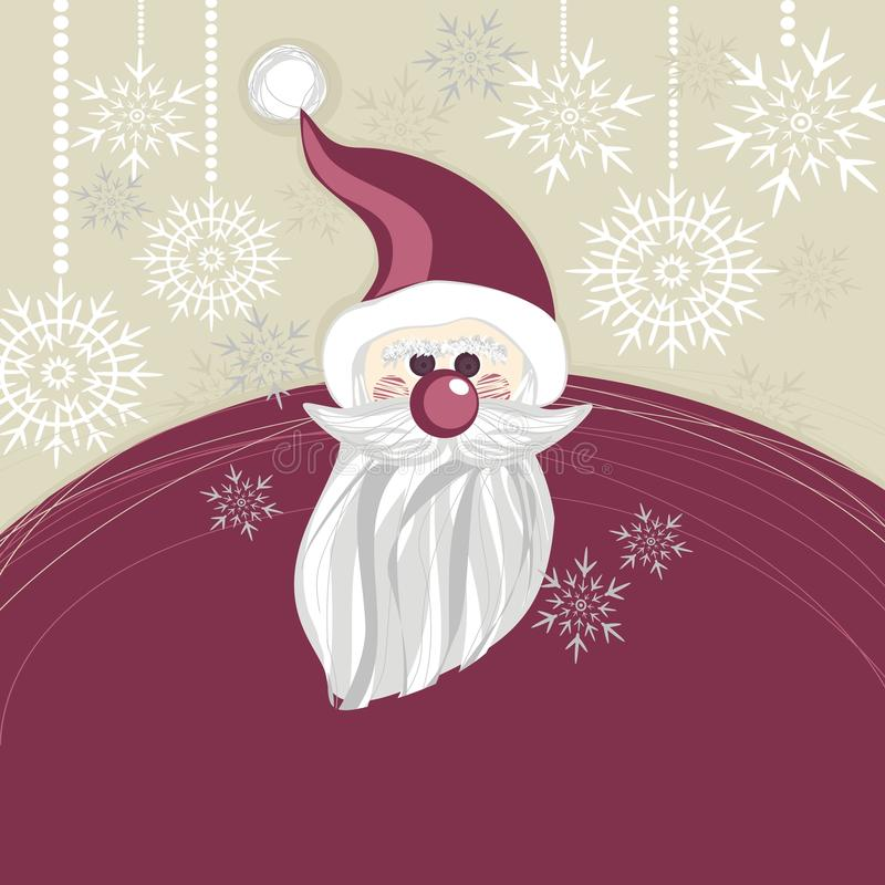 Cartão de Natal roxo de Papai Noel ilustração royalty free