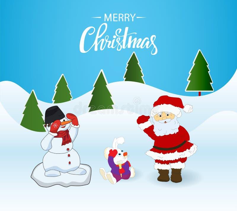 Cartão de Natal Santa Claus, coelho e boneco de neve ilustração do vetor