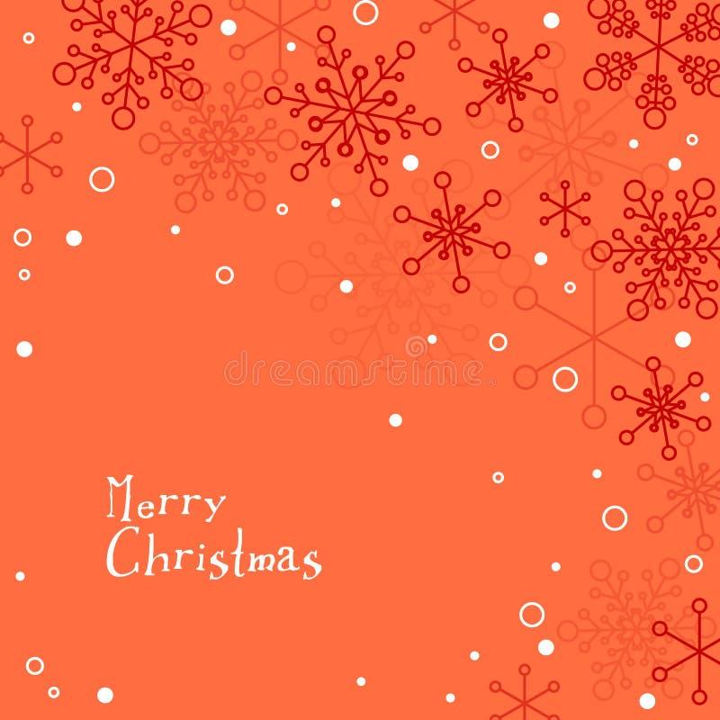 Cartão de Natal simples retro com flocos de neve brancos ilustração do vetor