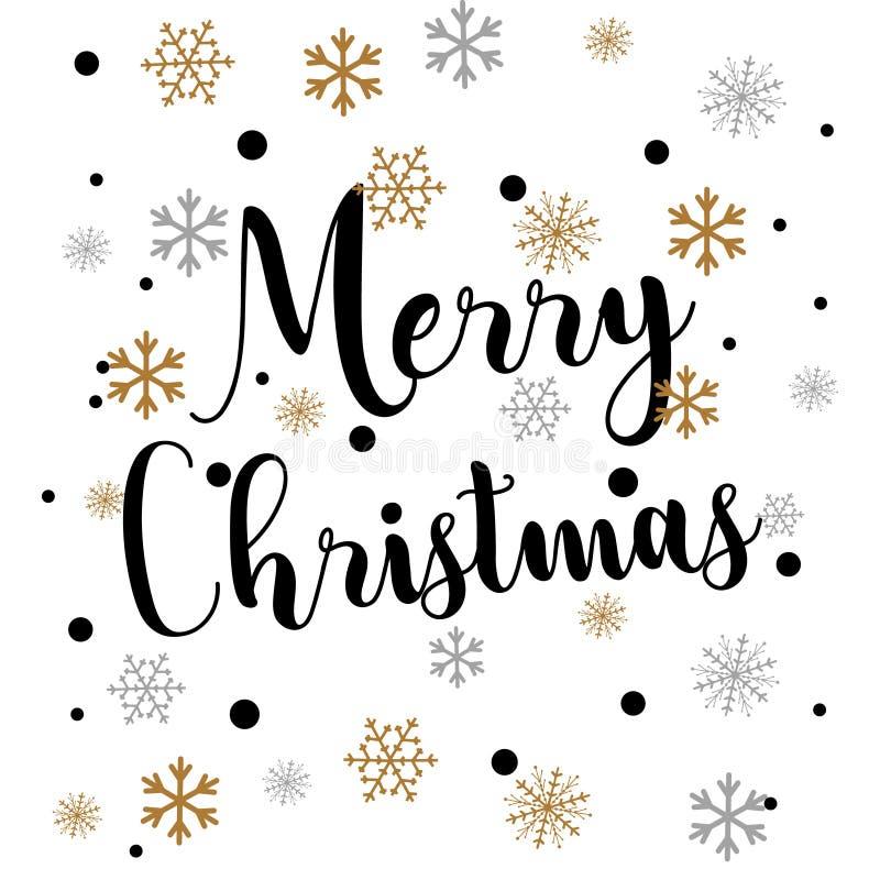 Cartão de Natal simples retro com os flocos de neve dourados no branco ilustração stock