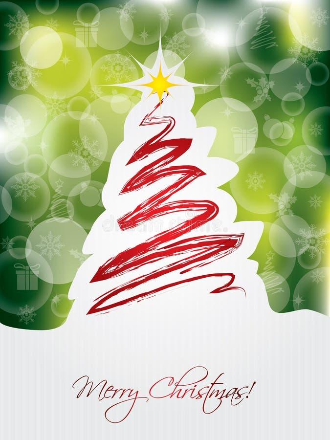 Cartão de Natal verde com árvore rabiscada ilustração royalty free