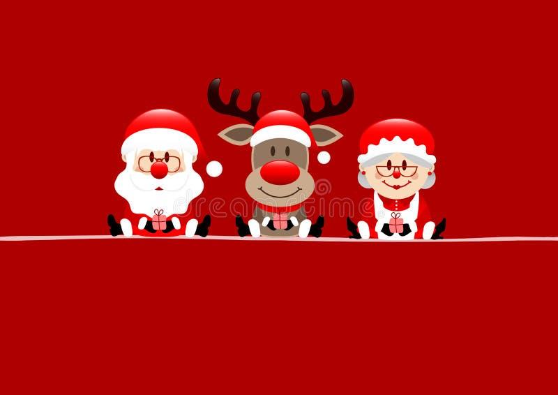 Cartão de Natal vermelho Santa Reindeer And Wife ilustração do vetor