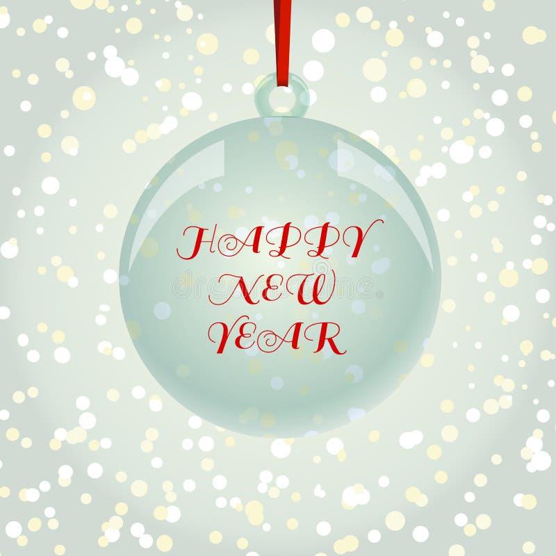 Cartão de NewYear do Natal com a bola no backgrou dos flocos de neve ilustração do vetor