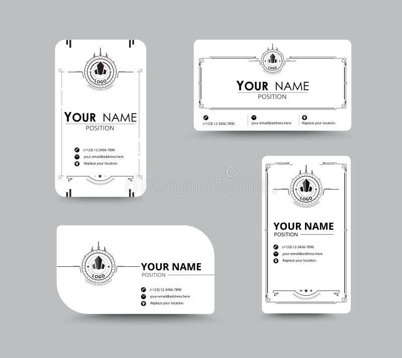 Cartão de nome da empresa branco projeto com conceito simples Vector o mal ilustração do vetor