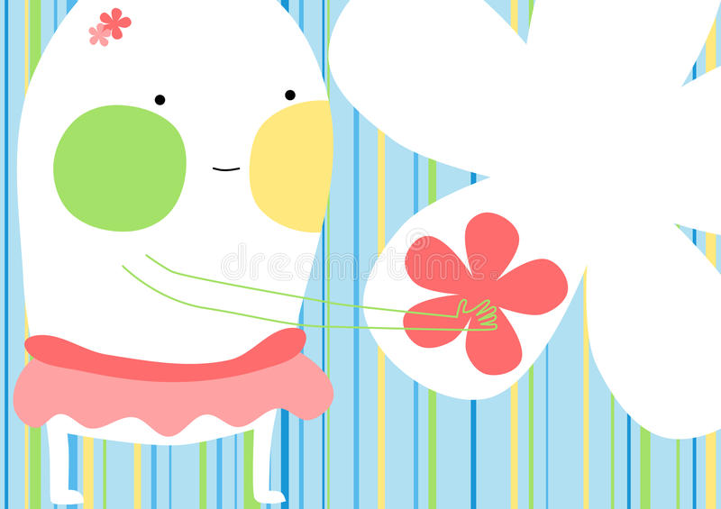 Cartão de oferecimento da flor da menina do monstro ilustração do vetor