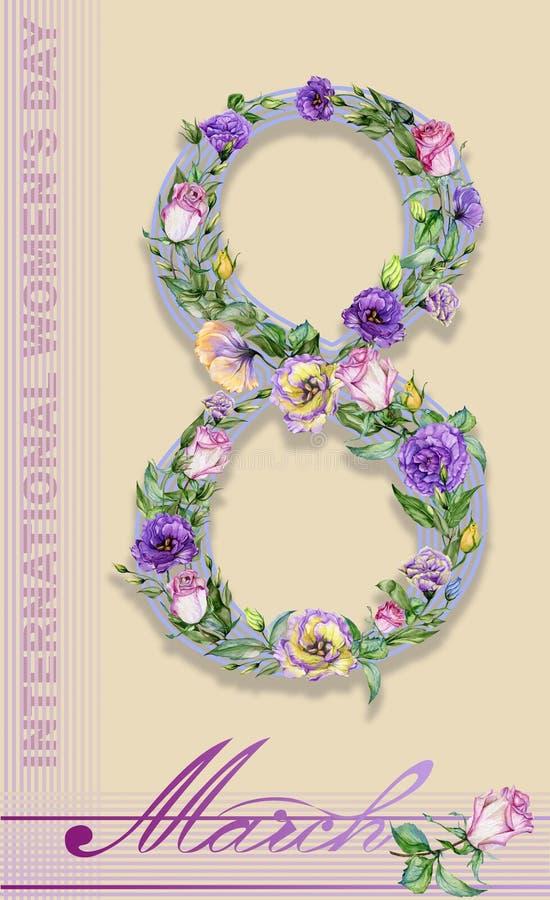 Cartão de oito marços Sinal o 8 de março decorado com as flores bonitas da rosa e do eustoma ilustração royalty free