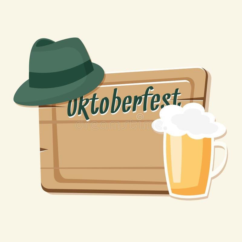 Cartão de Oktoberfest, convite com cerveja, chapéu verde e placa de madeira ilustração do vetor
