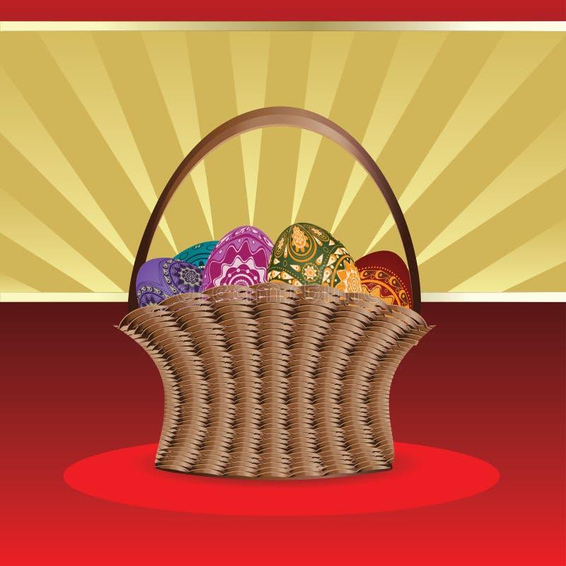 Cartão de Páscoa com a cesta dos ovos ilustração stock