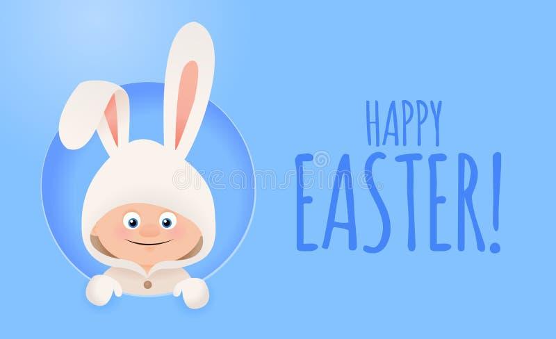 Cartão de Páscoa com o menino bonito no traje do coelho ilustração do vetor