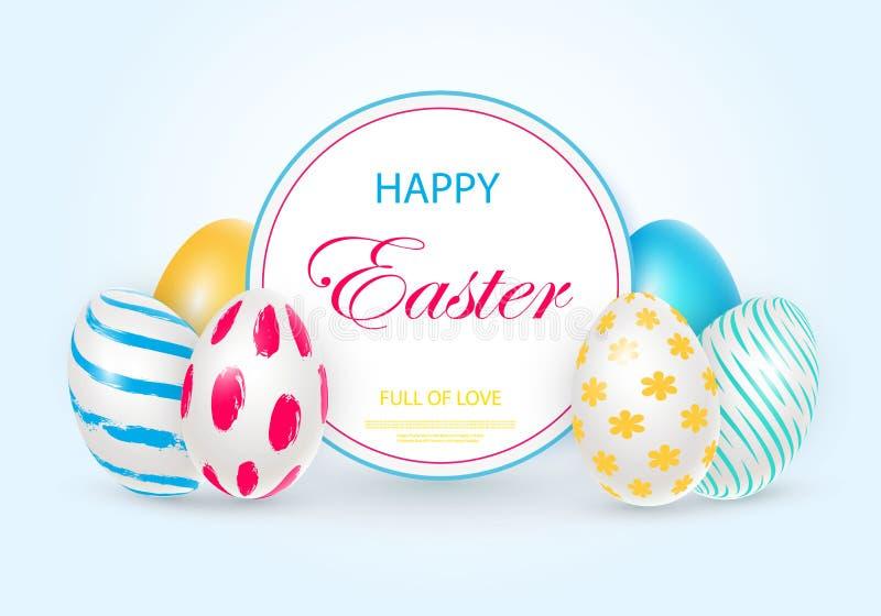 Cartão de Páscoa com os ovos 3D decorados brancos ilustração royalty free