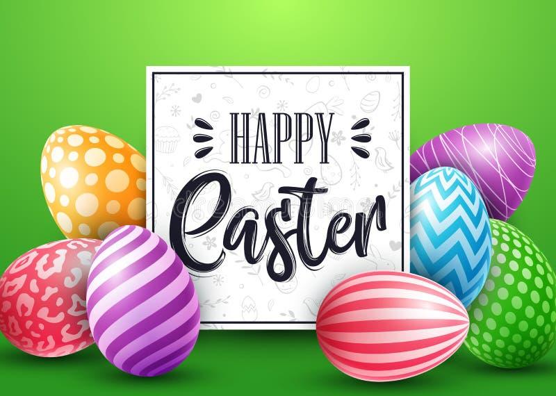 Cartão de Páscoa com os ovos decorados coloridos no fundo azul ilustração stock