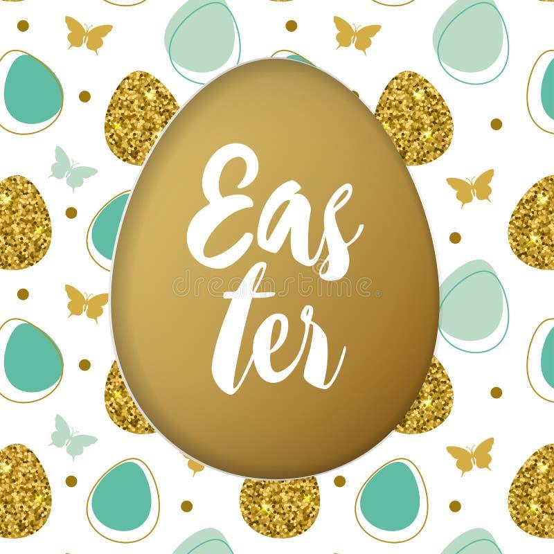 Cartão de Páscoa com os ovos dourados e verdes ilustração stock