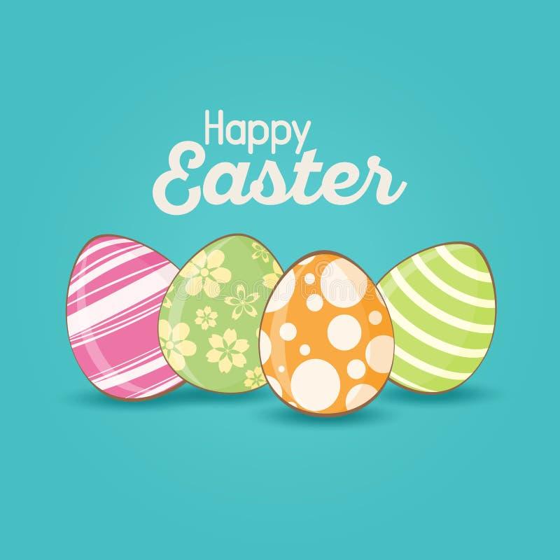 Cartão de Páscoa com ovos da páscoa coloridos ilustração do vetor