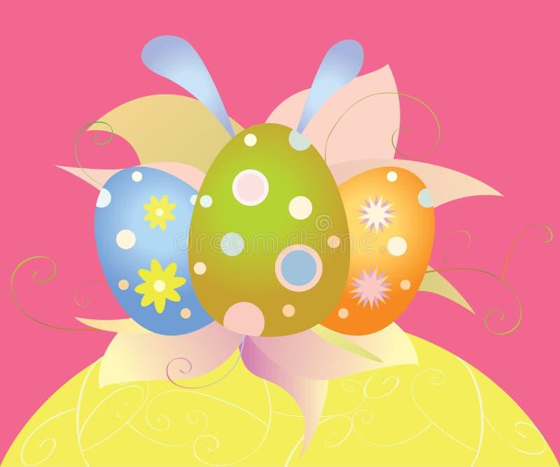 Cartão de Páscoa com ovos e flores imagem de stock royalty free