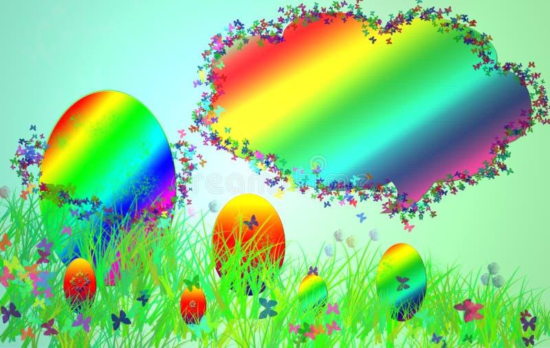Cartão de Páscoa com uma imagem da grama, dos ovos pintados e dos butterfilies imagens de stock