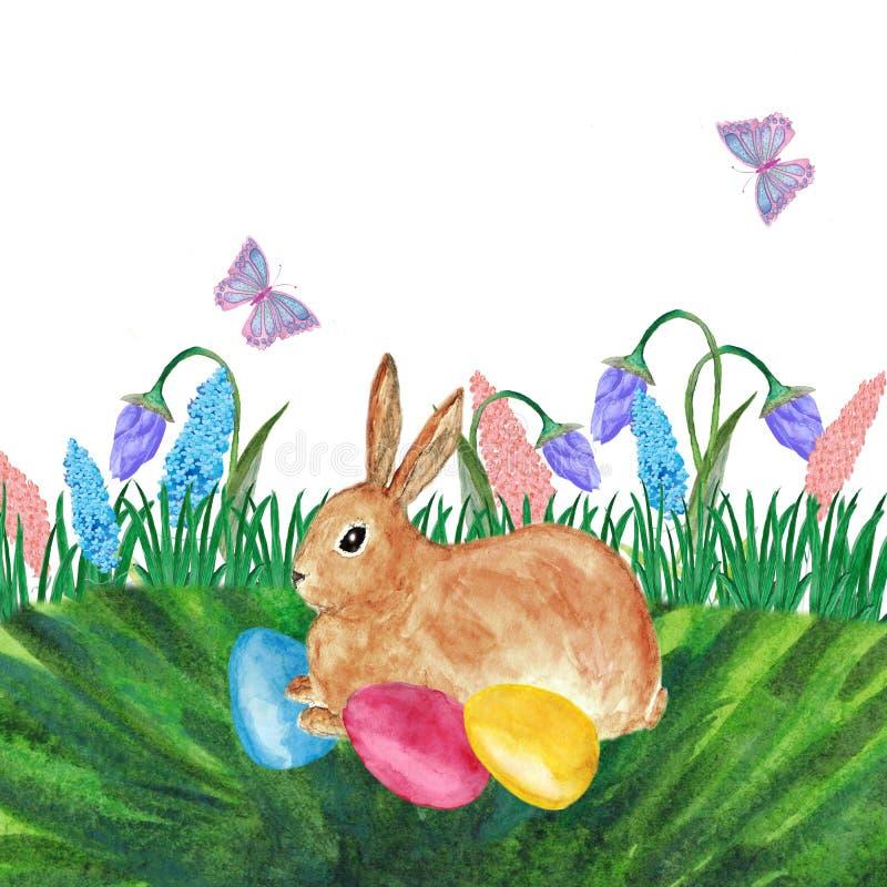 Cart?o de P?scoa da aquarela com flores, coelho, ovos e letra da m?o Elemento do projeto para cart?es ilustração stock