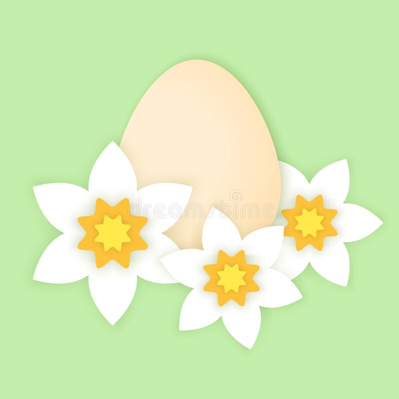 Cartão de Páscoa do papercut de Minimalistic com ovo e narciso ilustração do vetor