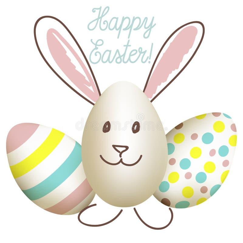 Cartão de Páscoa feliz com o coelho dos ovos ilustração stock