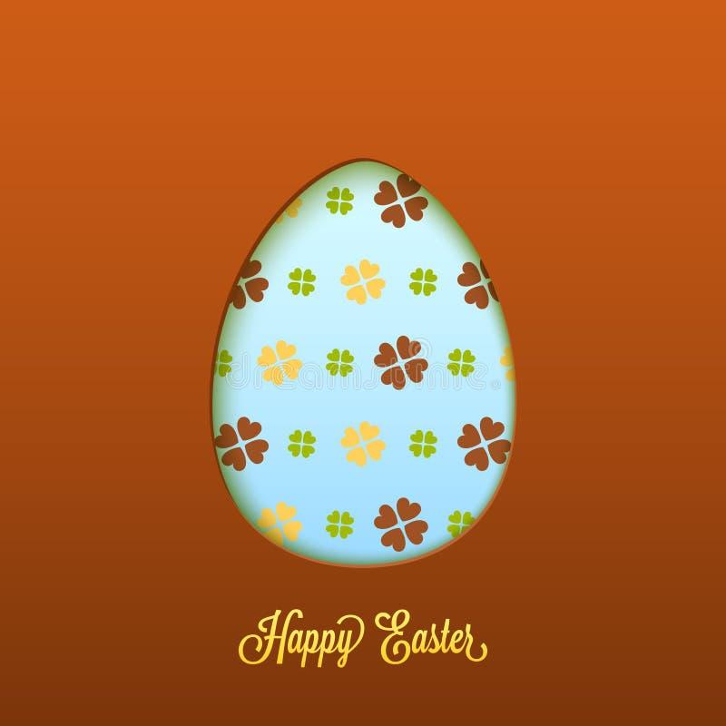 Cartão de Páscoa feliz com ovo cortado ilustração royalty free