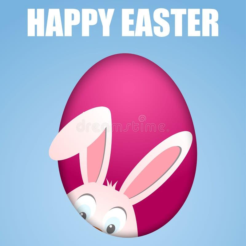 Cartão de Páscoa feliz com ovo e coelho escondendo ilustração stock