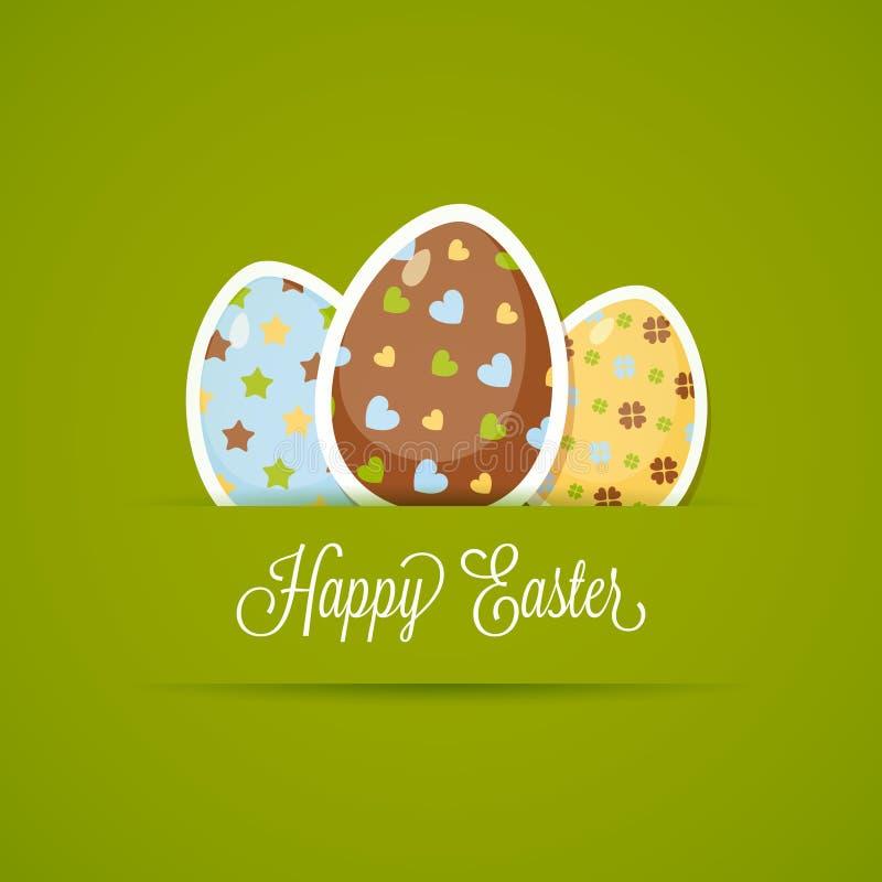 Cartão de Páscoa feliz com ovos bonitos, estilo de papel ilustração do vetor